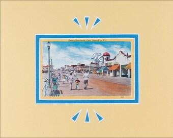 Ocean City, NJ, Vintage Postcard, Boardwalk, 1950's, Matted for Framing