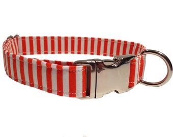 Carousel Collar: Bright Orange and White Stripe Patterned Handmade Dog Collar by Daft Paws