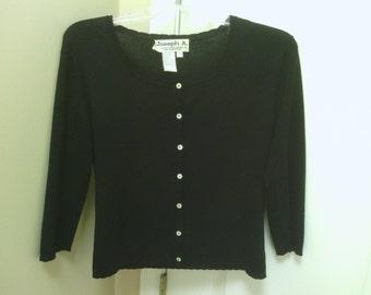An all Black Button up Sweater, Joseph A.
