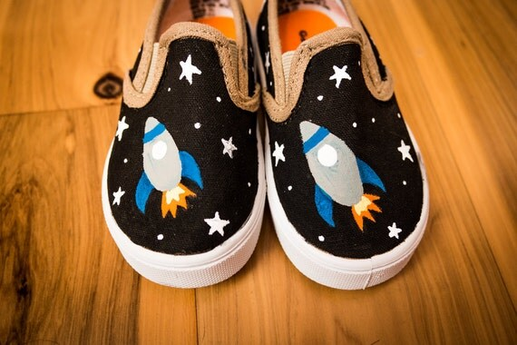Toddler's Rocket Ship Hand Painted Shoes By ArtzySolez On Etsy