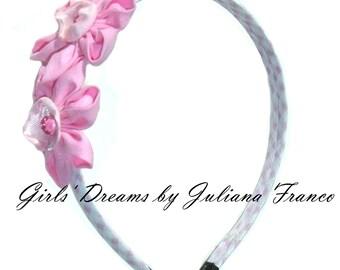 Girls headband, Pink Flower Headband, Flower headband, Toddler headband, Kids headband, Baby headband