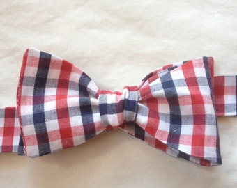 Red, white, and blue plaid bow tie