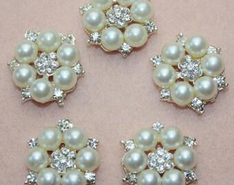 2pcs Pearl Rhinestone Flatback Embellishment Button Brooch DIY Bridal Brooch Wedding Jewelry Invitations Bouquet,28mm