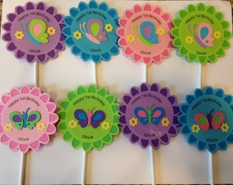 12 Butterfly Cupcake Toppers with message