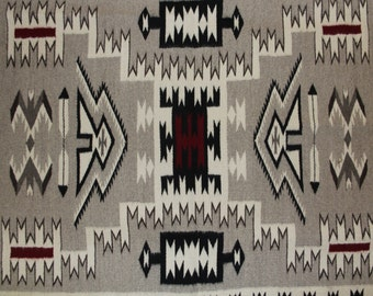 Southwest Rug : Extremely Fine Navajo Hand Woven Storm Pattern Rug by Juan Etsitty #141