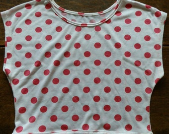 Reclaimed  Crop Top T-Shirt,  Cream with Pinky-Red Polka Dots, UK Size 6/8 / XS/Small