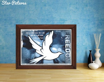 Christian dove poster.  Wall art decor. Printable art. And ye shall know the truth and the truth shall make you free. John 8:32 KJ.