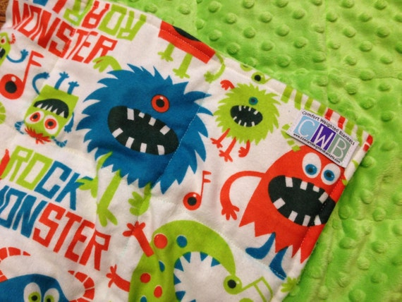 "Monster flannel, lime green minky - Mini Weighted Blanket (20"" x 30"") - 3 pounds -for calming, autism, ADHD, anxiety -FREE Shipping"