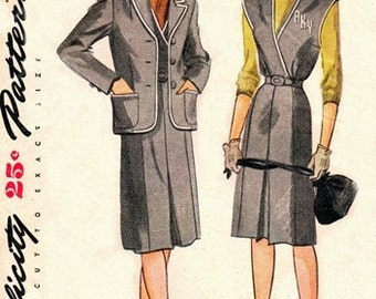 Simplicity 1221 Ivy League Jacket & Jumper / 1940's / SZ14 FACTORY FOLDS