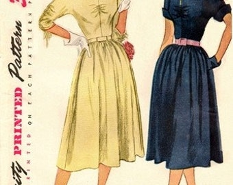 Simplicity 3633 Sophisticate Dress with Bodice Variations / ca. 1951 / SZ14 UNCUT