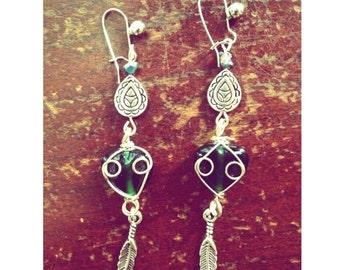 Bohemian/gypsy/hippie earrings with iris nuggets