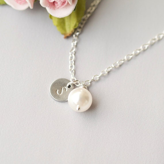 Delicate Personalized Initial Necklace, Swarovski Pearl Necklace