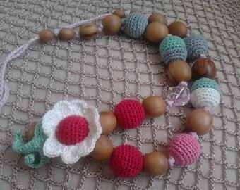 Nursing necklave.Eco.Bio.Organic cotton.Teething necklace.Baby toy.Necklace toy.Nursing necklace.Wood.Cotton.