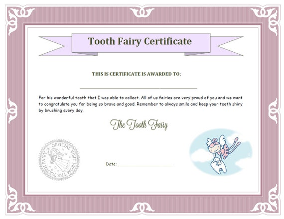 items similar to girls tooth fairy certificate on etsy