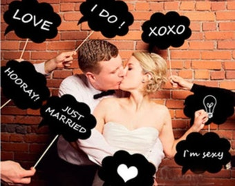 DIY 8 pcs Photo Booth Props Photobooth prop On a Stick Mustache Wedding Party