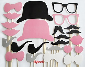 20 pcs Photo Booth Props Photobooth prop On a Stick Mustache Wedding Party