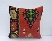 "16""x16'' Handwoven Kilim Pillow Throw Pillow kilim cushion cover decorative throw pillows turkish kilim pillows ethnic wool sham"