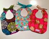Custom handmade-to-order baby bibs (set of 3), gift, make your own, reversible