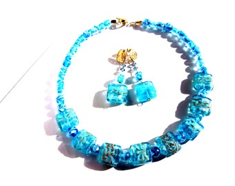 Aqua Blue glass necklace and earrings set