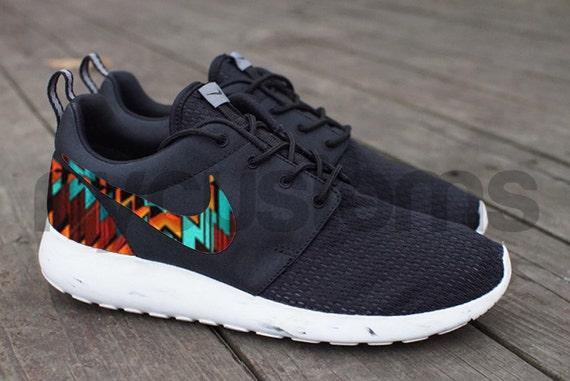 Free Shipping Nike Roshe Run Black White Marble Aztec