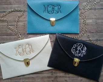 Monogrammed Clutch w/ gold chain SALE - great for weddings & bridesmaids gifts