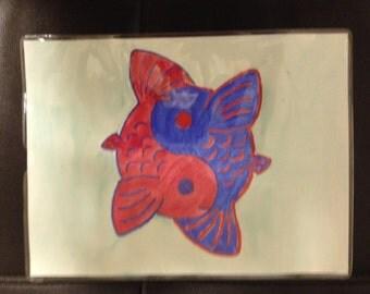 Blue & Red Yin-Yang Koi Fish Watercolor Painting