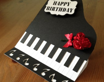 Piano topper, shaped easel card and embellishments SVG Digital Cutting File
