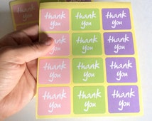 24 colored thank you sticker - thank you label - favor sticker - wedding thank you sticker - wedding favors - envelope seals - label seals
