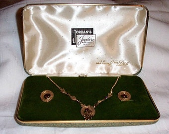 Vintage Van Dell wedding/engagement Necklace and Earring Set 12KGF