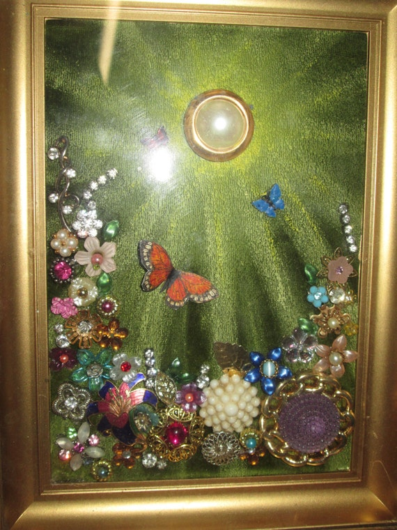 Items Similar To Framed Vintage Jewelry Flower Garden