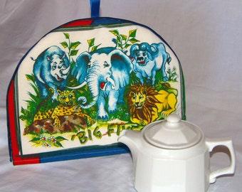 """Tea Cosy/Cozy with Big Five wild animals on fabric. 12"""" x 9"""" (30cm x 23cm)"""