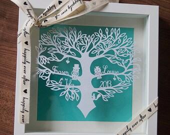 Hand cut 'The wedding owls' papercut.