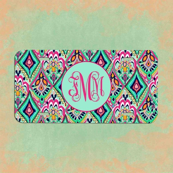monogrammed license plate lilly pulitzer inspired personalized monogrammed license plate car tag