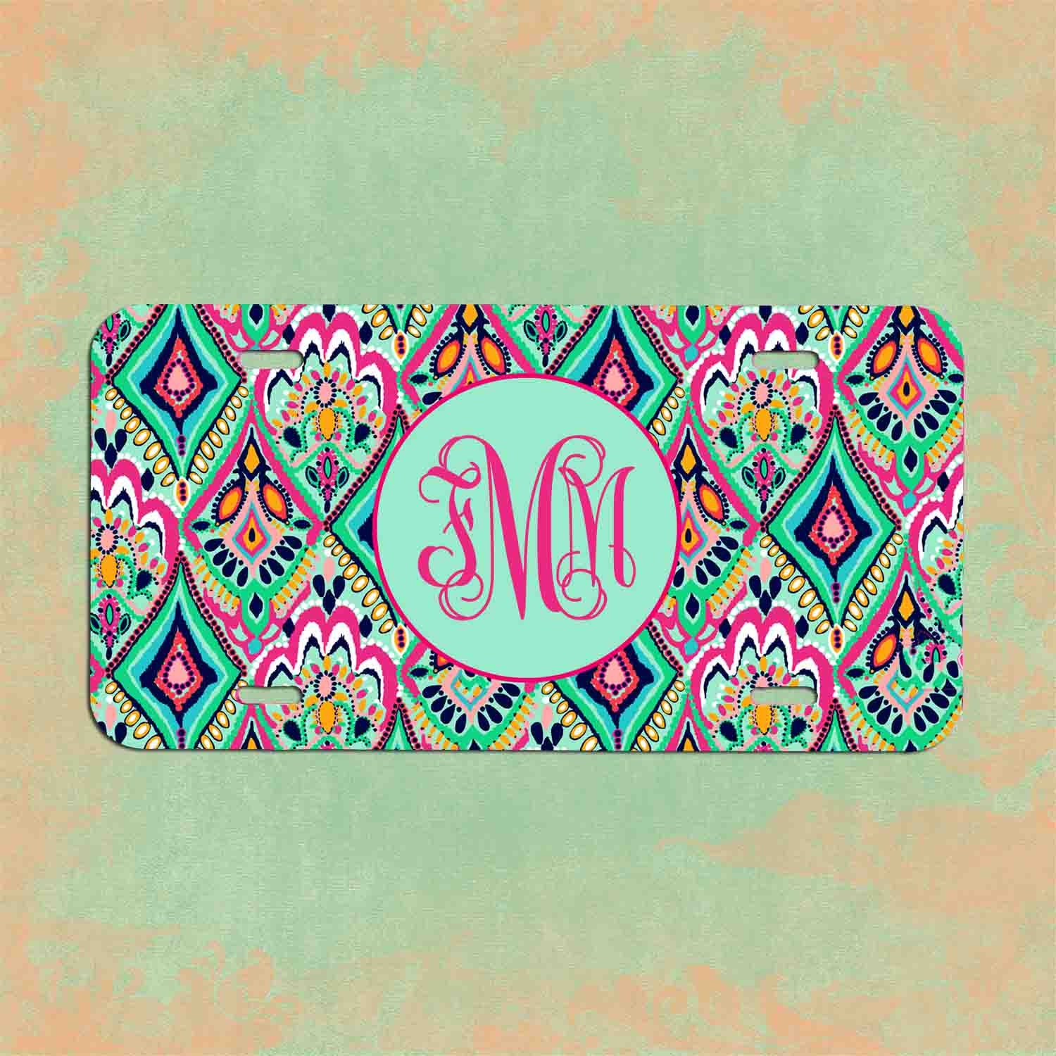 Monogrammed License Plate Lilly Pulitzer Inspired