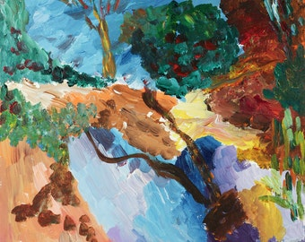Fine Art Print, Giclee,Expressionistic, Landscape, browns, blues**ships free** in USA