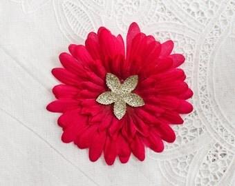 Hot Pink Silk Daisy Flower Hair Clip with jeweled flower Rhinestone center