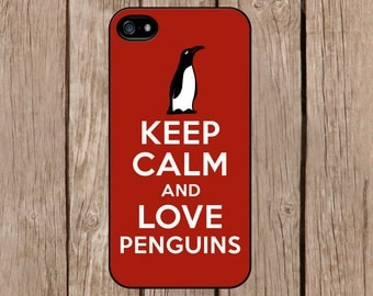 iPhone 6 case, iPhone 6 plus case, iPhone 5c case, iPhone 5s case Samsung Galaxy S5 S4 Note 4 3 2 S3 Keep Calm and Love Penguins Red