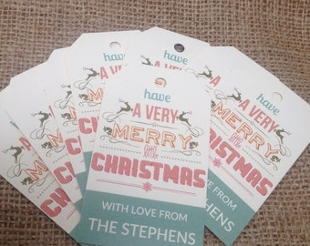 18 x Personalised Rustic/Vinatge/Shabby Chic 'Merry little Christmas' Tags