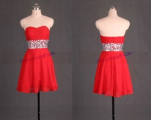 Short red chiffon prom dresses with rhinestones,2015 cheap sweetheart homecoming gowns,chic women dress for holiday party hot.
