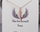 She Let Herself Soar,Rose Gold,Wing,Angel Wing,Wing Necklace,Necklace,Best,Friend,Friendship Necklace,Friends,Rose, Rose Gold Necklace