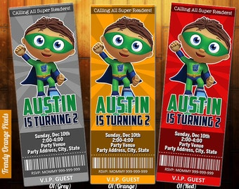 Super Why Invitation, super why  birthday invite - printable, personalized for super why birthday party or baby shower