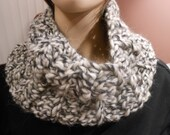 SALE   One dollar fifty cents plus shipping  cowl of wool, alpaca and acrylic blend bulky yarn in cream, light gray, charcoal gray
