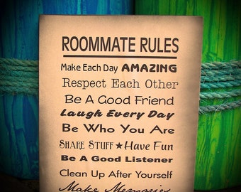 Roommate Rules Wood Sign - Dorm Room, Apartment, House, New Apartment