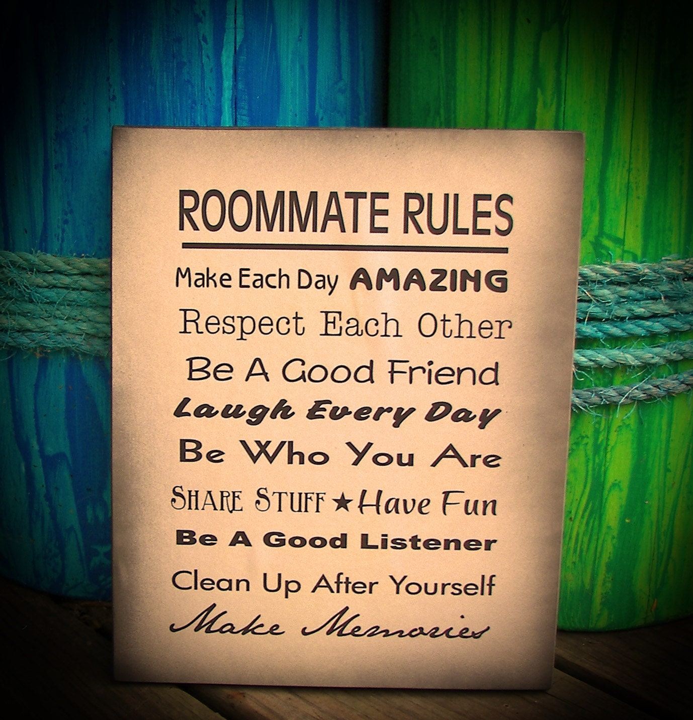 Roommate Rules Wood Sign  Dorm Room, Apartment, House, New Apartment