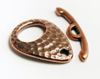 Hammered Teardrop Toggle Clasp, Antiqued Copper Plated by Tierracast,  Made in USA, #TC107