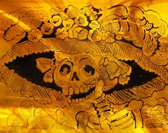Dia De Los Muertos Catrina Stained Glass Panel