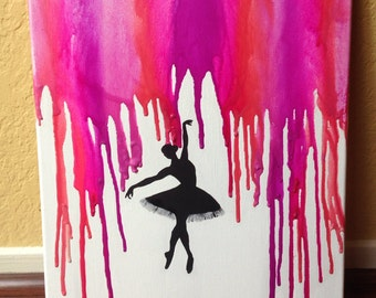 Dancing Ballerina Melted Crayon Art