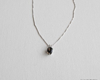 Smoky Quartz and Sterling Silver Necklace  - Gemstone Necklace (GS-1)