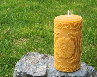 Pure Beeswax Candle. Victorian Pillar Shape. Pure Unbleached Cotton Wicking.  Hand Poured.  Unscented. 100% pure beeswax.