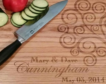 Wedding Engraved Kitchen Cutting Boards- Curly Tree